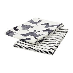 SÄLLSKAP tea towel, white, grey Length: 70 cm Width: 50 cm Package quantity: 2 pieces
