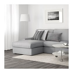 KIVIK 3 Seat Sofa, Orrsta With Chaise Longue, Orrsta Light Grey