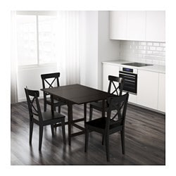 Ingatorp Drop Leaf Table Black Brown