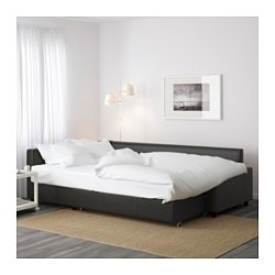 FRIHETEN Corner sofa-bed with storage, Bomstad black ...