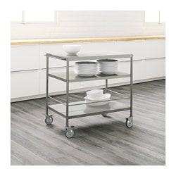 FLYTTA Kitchen Cart, Stainless Steel