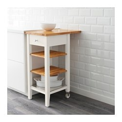 STENSTORP Kitchen Cart, White, Oak