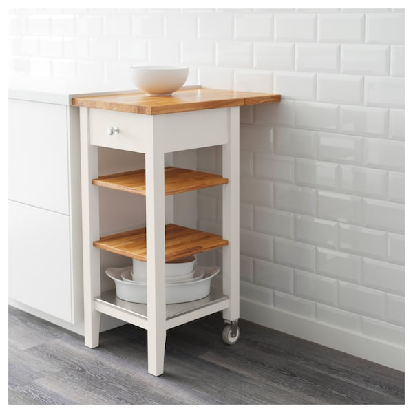 Kitchen cart STENSTORP white, oak