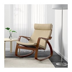 POÄNG Rocking Chair, Medium Brown, Robust Glose Off White