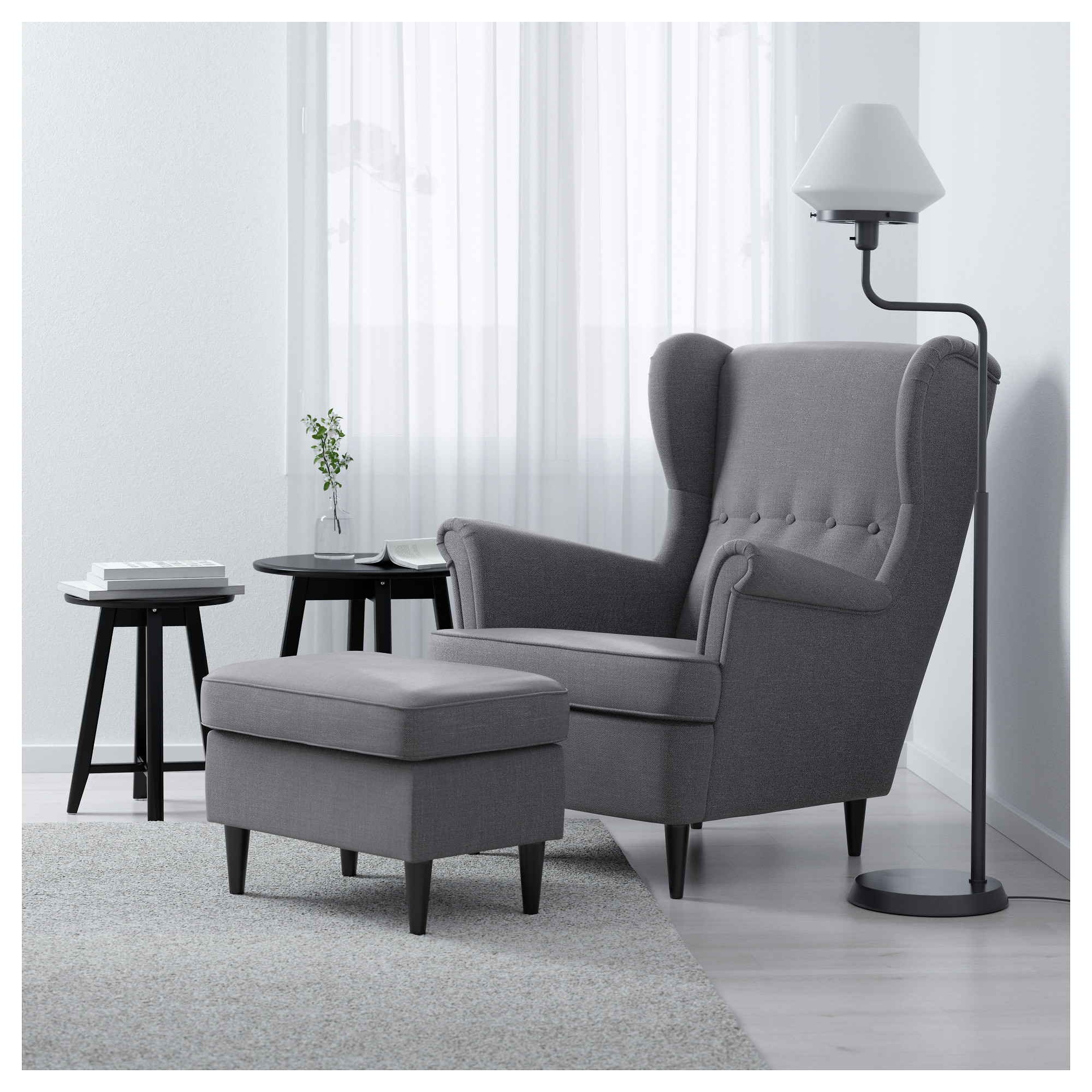 STRANDMON Wing chair - Nordvalla dark gray - IKEA