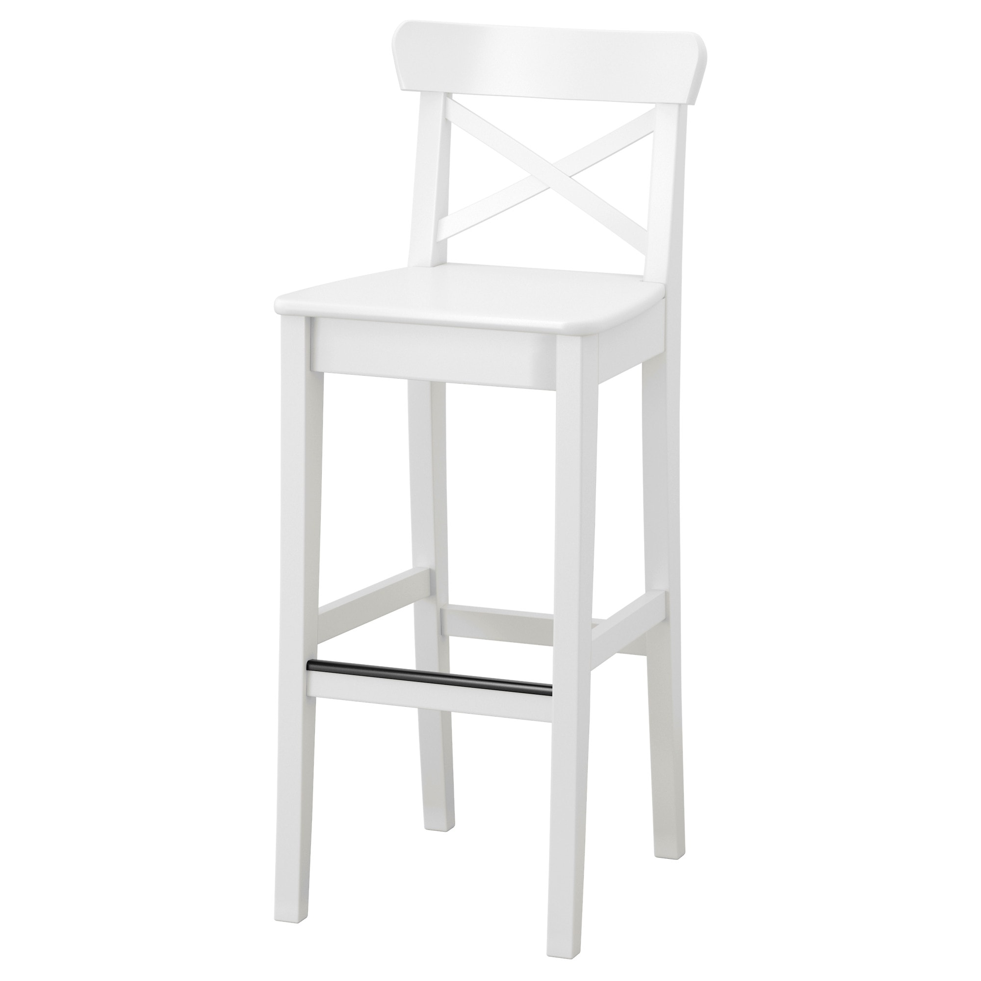 INGOLF Bar Stool With Backrest, White Tested For: 220 Lb Width: 15 3