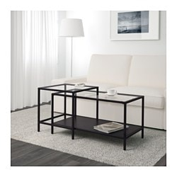 VittsjÖ Nesting Tables Set Of 2 Black Brown Gl