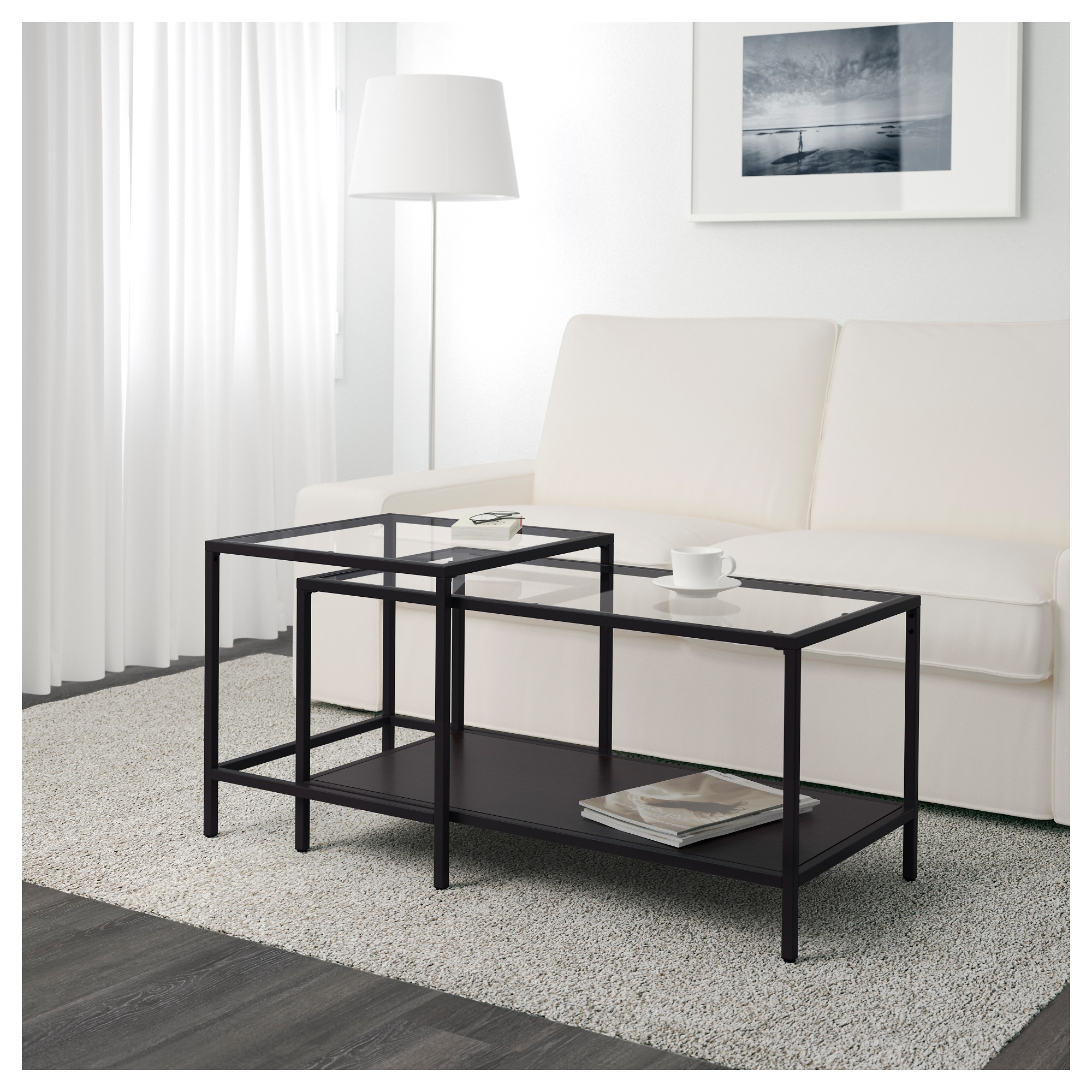 VITTSJ– Nesting tables set of 2 black brown glass IKEA