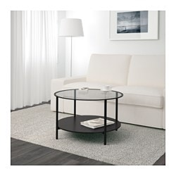 VITTSJÖ coffee table, black-brown, glass