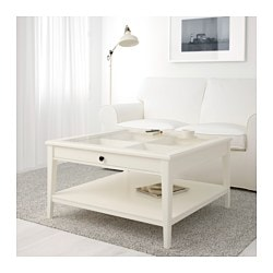 LIATORP coffee table, white, glass