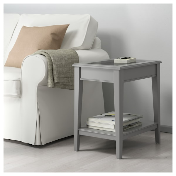 Liatorp Side Table.Side Table Liatorp Grey Glass