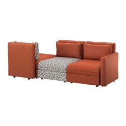 VALLENTUNA 3-seat sofa, Funnarp black/beige, Ramna orange Width: 266 cm Depth: 113 cm Seat depth: 80 cm