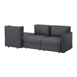 VALLENTUNA, Sleeper sectional, 3-seat, Hillared dark gray
