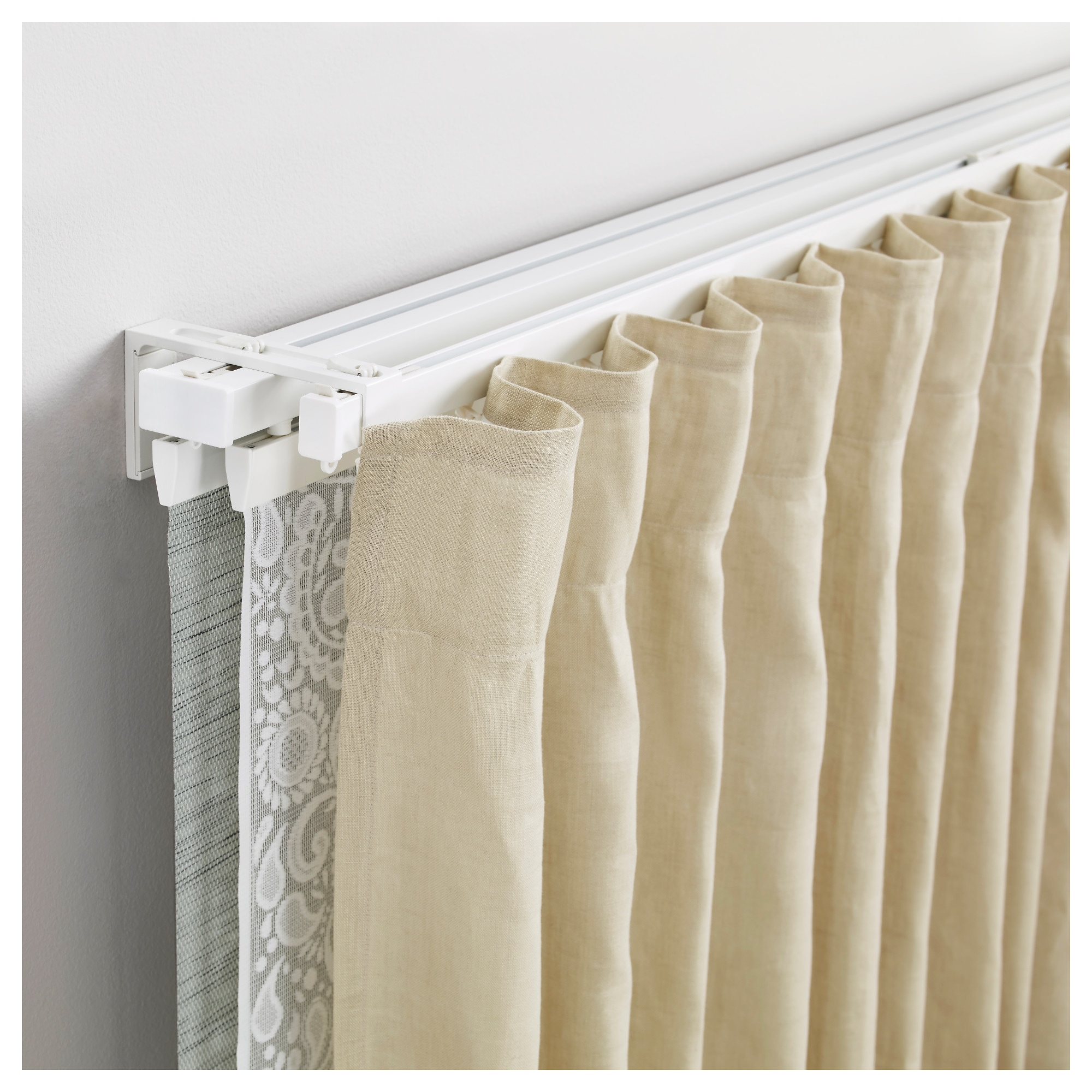 curtain rails rods curtain tracks rods more ikea vidga single and triple track set white