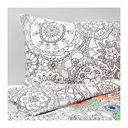 VÄNSKAPLIG quilt cover and pillowcase, multicolour Thread count: 146 /inch² Quilt cover length: 200 cm Quilt cover width: 150 cm