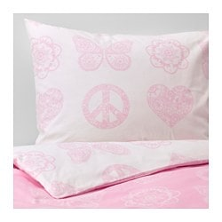 "VÄNSKAPLIG duvet cover and pillowcase(s), pink Thread count: 146 square inches Duvet cover length: 86 "" Duvet cover width: 64 "" Thread count: 146 square inches Duvet cover length: 218 cm Duvet cover width: 162 cm"