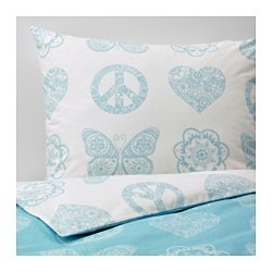 "VÄNSKAPLIG duvet cover and pillowcase(s), turquoise Thread count: 146 square inches Duvet cover length: 86 "" Duvet cover width: 64 "" Thread count: 146 square inches Duvet cover length: 218 cm Duvet cover width: 162 cm"