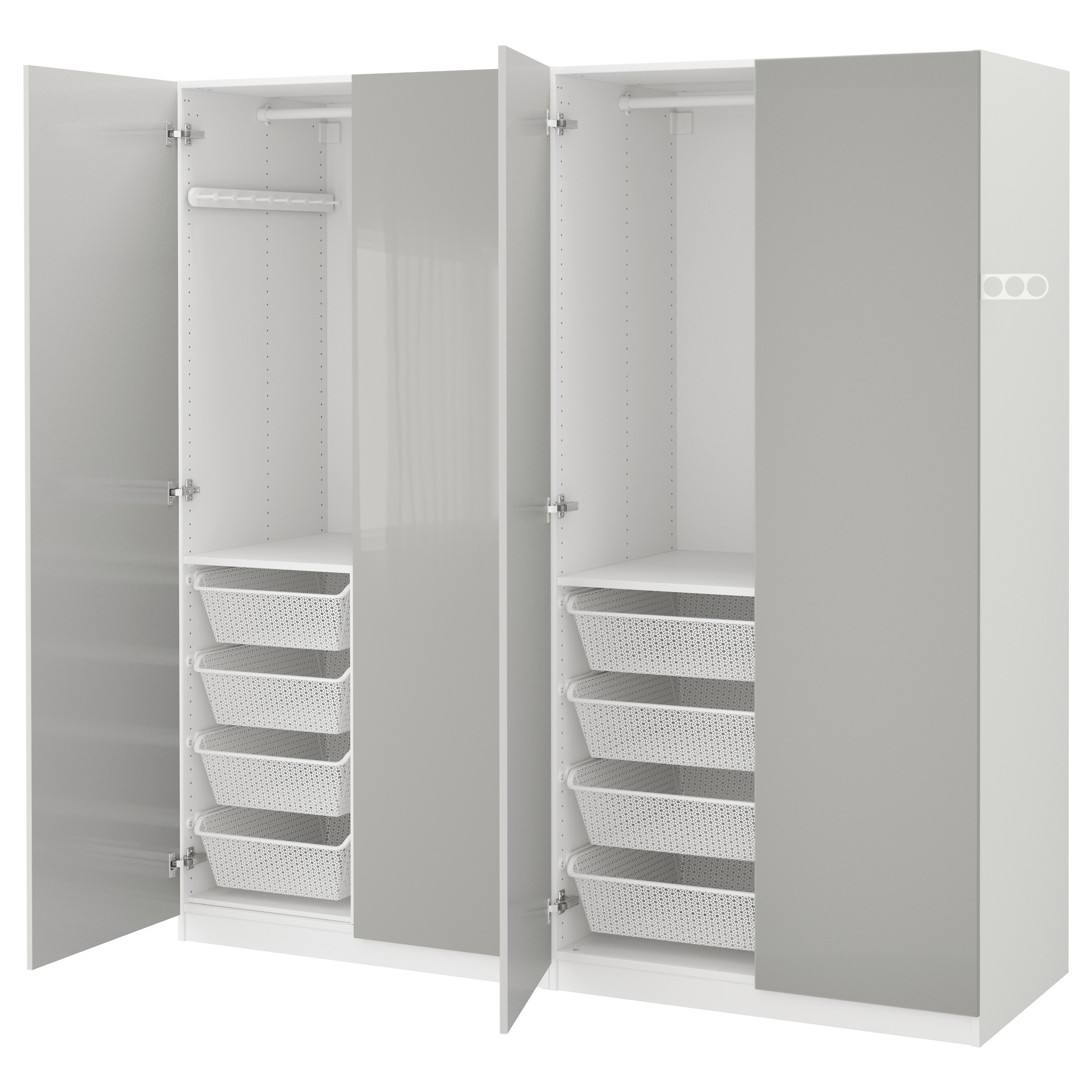 Ideal PAX wardrobe white Fardal high gloss light gray Width