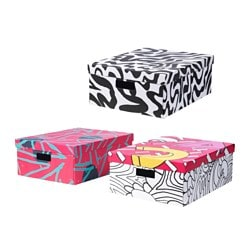 SPRIDD box with lid, dark grey assorted patterns Width: 43 cm Depth: 54 cm Height: 21 cm