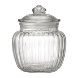 KAPPROCK jar with lid, clear glass Height: 14 cm Volume: 0.6 l