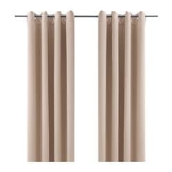 BOLLOLVON block-out curtains, 1 pair, beige Length: 250 cm Width: 145 cm Weight: 1.65 kg