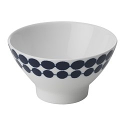 BRUSANDE rice bowl, blue, white Diameter: 12 cm Height: 7 cm