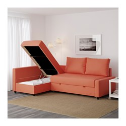 Friheten Corner Sofa Bed With Storage Skiftebo Dark Orange Ikea Family