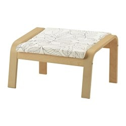POÄNG footstool, birch veneer, Vislanda black/white