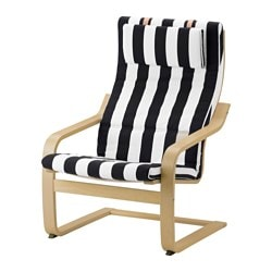 POÄNG armchair cushion, Stenli black/white