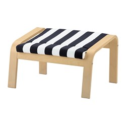 POÄNG footstool cushion, Stenli black/white