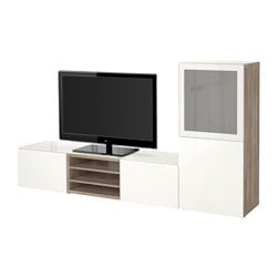 BESTÅ TV storage combination/glass doors, Selsviken high-gloss/white frosted glass, grey stained walnut effect Width: 240 cm Depth: 40 cm Height: 128 cm