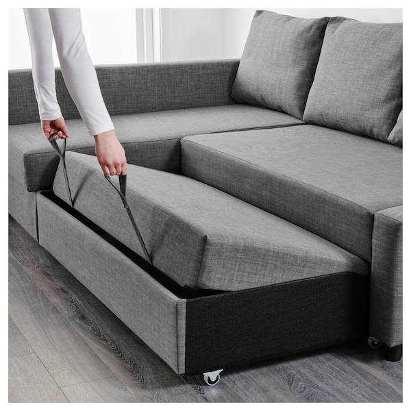 Corner sofa-bed with storage FRIHETEN Skiftebo dark grey
