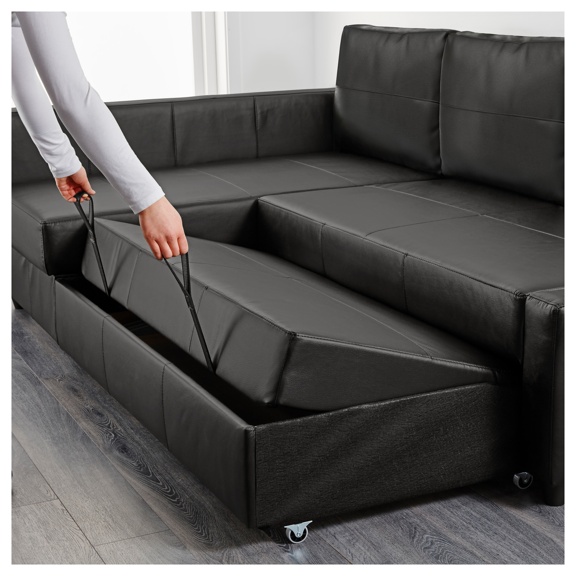 FRIHETEN Sleeper sectional3 seat wstorage Skiftebo dark gray
