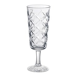 FLIMRA champagne glass, clear glass, patterned Height: 17.4 cm Volume: 19 cl