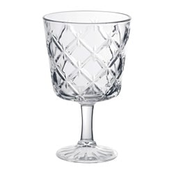 FLIMRA, Wine glass, clear glass, patterned