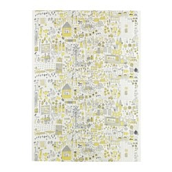 "DAGGSKÅL fabric, white/yellow, gray Weight: 0.75 oz/sq ft Width: 59 "" Pattern repeat: 34 "" Weight: 230 g/m² Width: 150 cm Pattern repeat: 87 cm"
