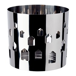 VACKERT decoration for candle in glass, stainless steel, Houses