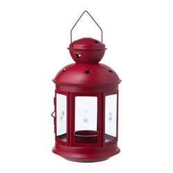 ROTERA lantern for tealight, in/outdoor red Height: 21 cm