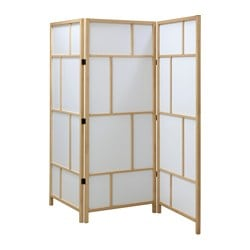 "RISÖR room divider, white, brown Width: 85 "" Height: 72 7/8 "" Width: 216 cm Height: 185 cm"