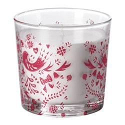 "VINTER 2016 scented candle in glass, red Homemade gingerbread, red Height: 3 ½ "" Burning time: 40 hr Height: 9 cm Burning time: 40 hr"