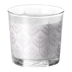 "VINTER 2016 scented candle in glass, Christmas tree silver color Height: 3 ½ "" Burning time: 40 hr Height: 9 cm Burning time: 40 hr"