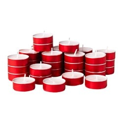 VINTER 2016 unscented tealight, red Diameter: 38 mm Burning time: 4 hr Package quantity: 36 pack