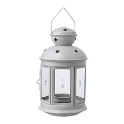 ROTERA lantern for tealight, in/outdoor grey Height: 21 cm
