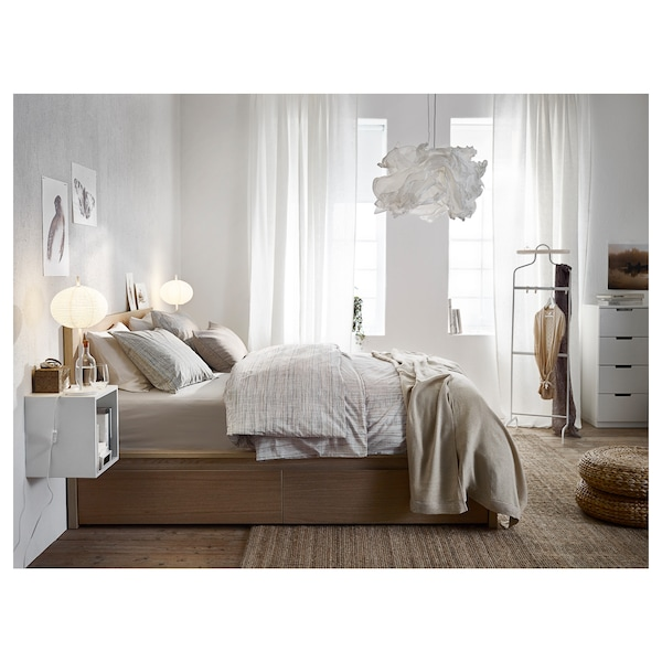 malm bettgestell hoch mit 2 schubk sten eichenfurnier wei lasiert lur y ikea. Black Bedroom Furniture Sets. Home Design Ideas