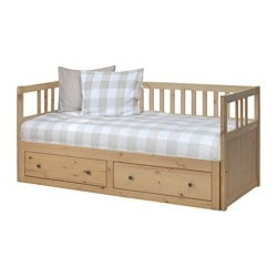 HEMNES day-bed frame with storage, light brown Length: 207 cm Width: 86 cm Height: 91 cm