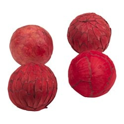 SOMLIG decoration, ball, red Diameter: 10 cm Package quantity: 4 pack