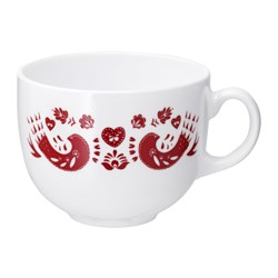 "VINTER 2016 mug, patterned red Height: 3 "" Volume: 17 oz Height: 8.5 cm Volume: 50 cl"