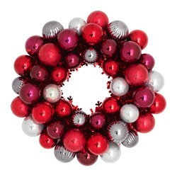 VINTER 2016 decoration, wreath, red, silver-colour Diameter: 40 cm