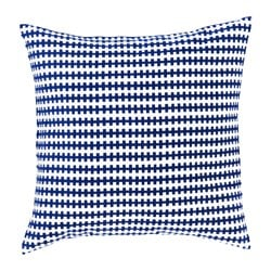 "STOCKHOLM 2017 cushion, blue, white Length: 20 "" Width: 20 "" Filling weight: 26 oz Length: 50 cm Width: 50 cm Filling weight: 750 g"