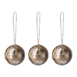 VINTER 2016 decoration, bauble, natural, silver-colour Diameter: 7 cm Package quantity: 3 pieces